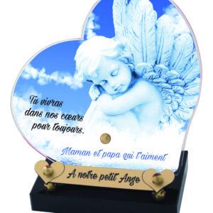 plaque funeraire coeur ange