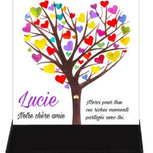 Plaque funéraire arbre cœurs couleurs